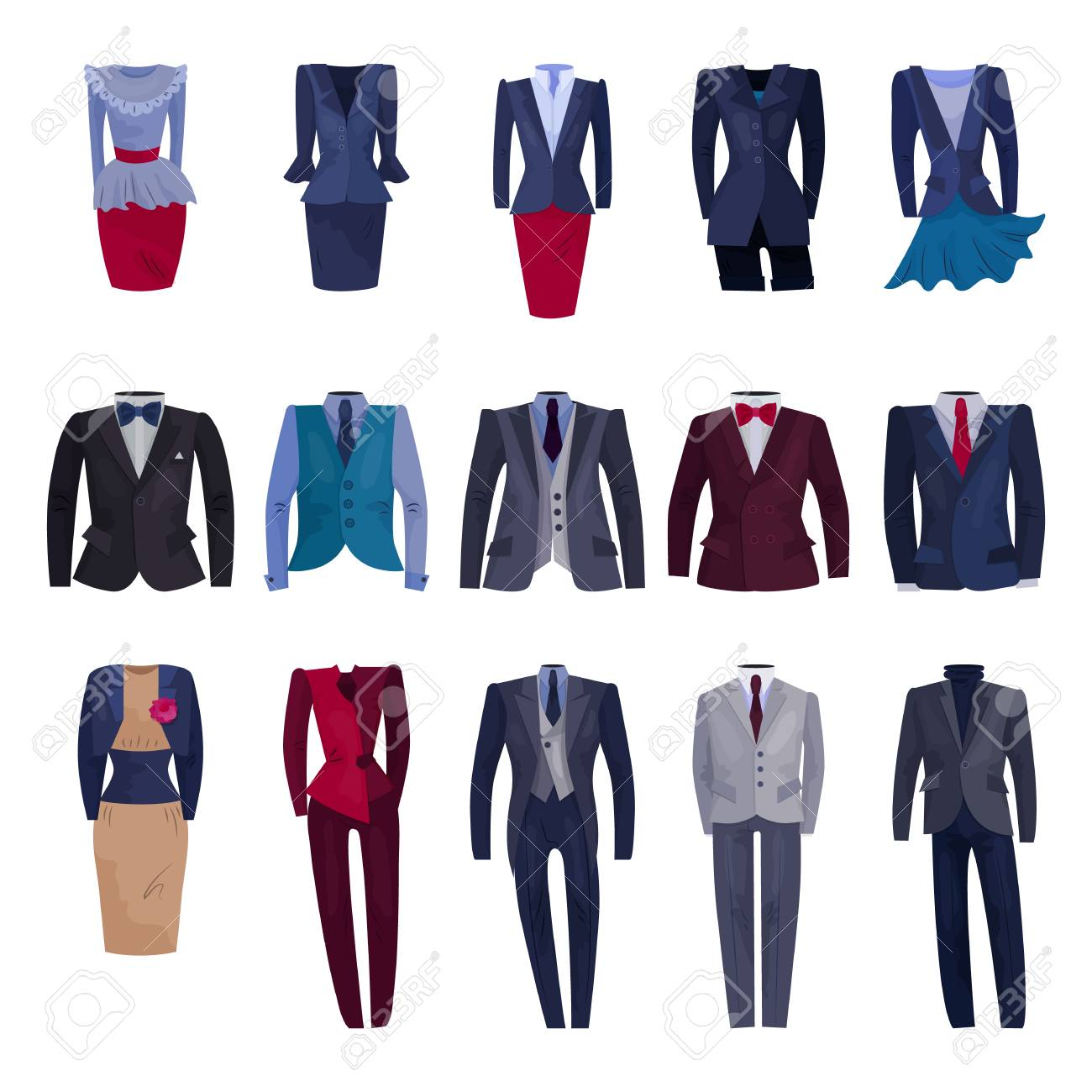 Business suit vector businessman or businesswoman corporate suited clothes illustration set of manager or worker dress code clothing at office isolated on white background. - 110023155