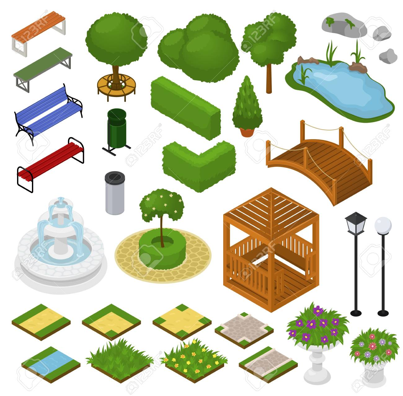 Park vector parkland with green garden trees grass and fountain or pond in city illustration set of isometric parkway in cityscape or landscape isolated on white background. - 109791060