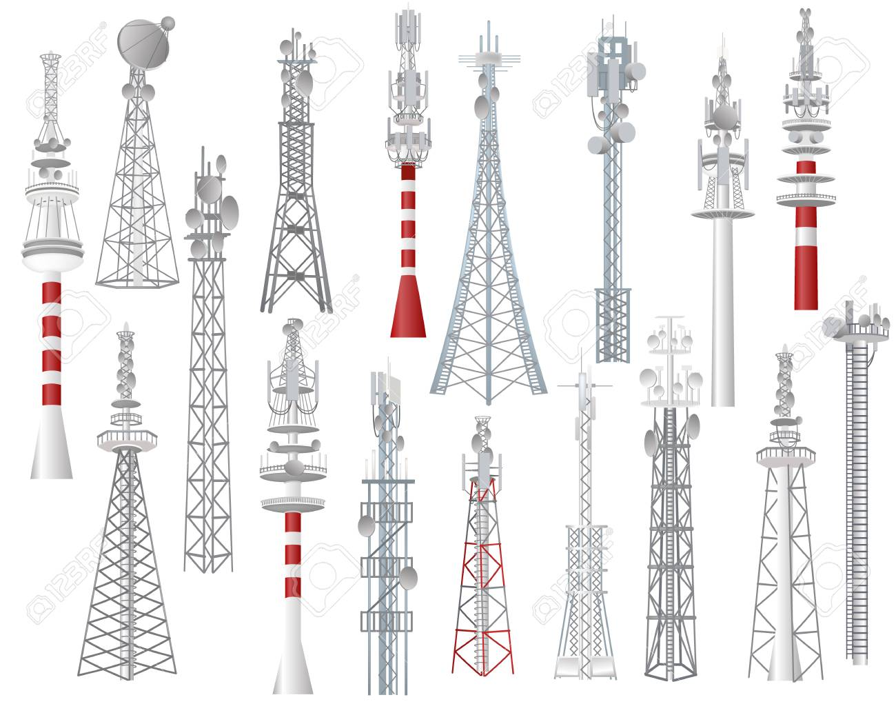 Radio tower vector towered communication technology antenna construction in city with network wireless signal station illustration set of towering broadcast equipment isolated on white background. - 109672417