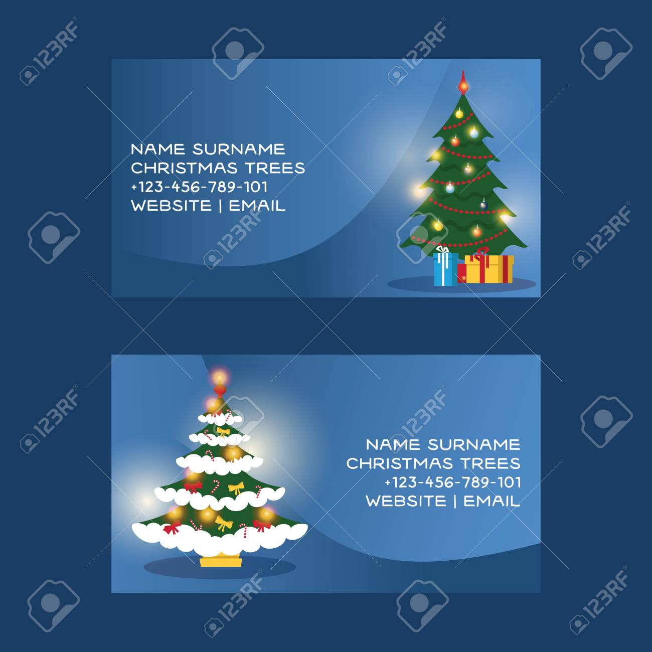 Christmas Business Card Vector Merry Xmas Visiting With Tree And New Year