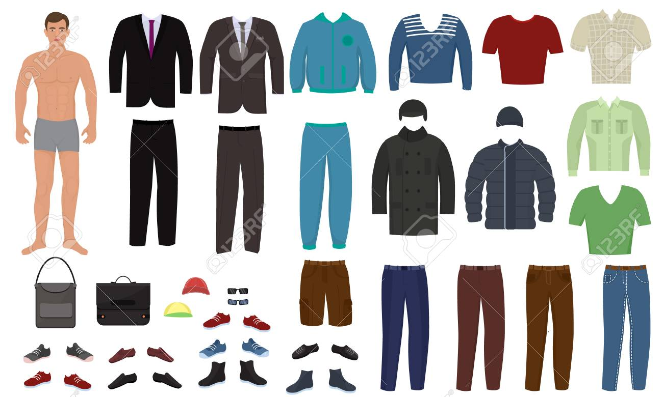 Man clothing vector cartoon boy character dress up clothes with fashion pants or shoes illustration boyish set of male cloth for cutting cap or T-short isolated on white background. - 126039251