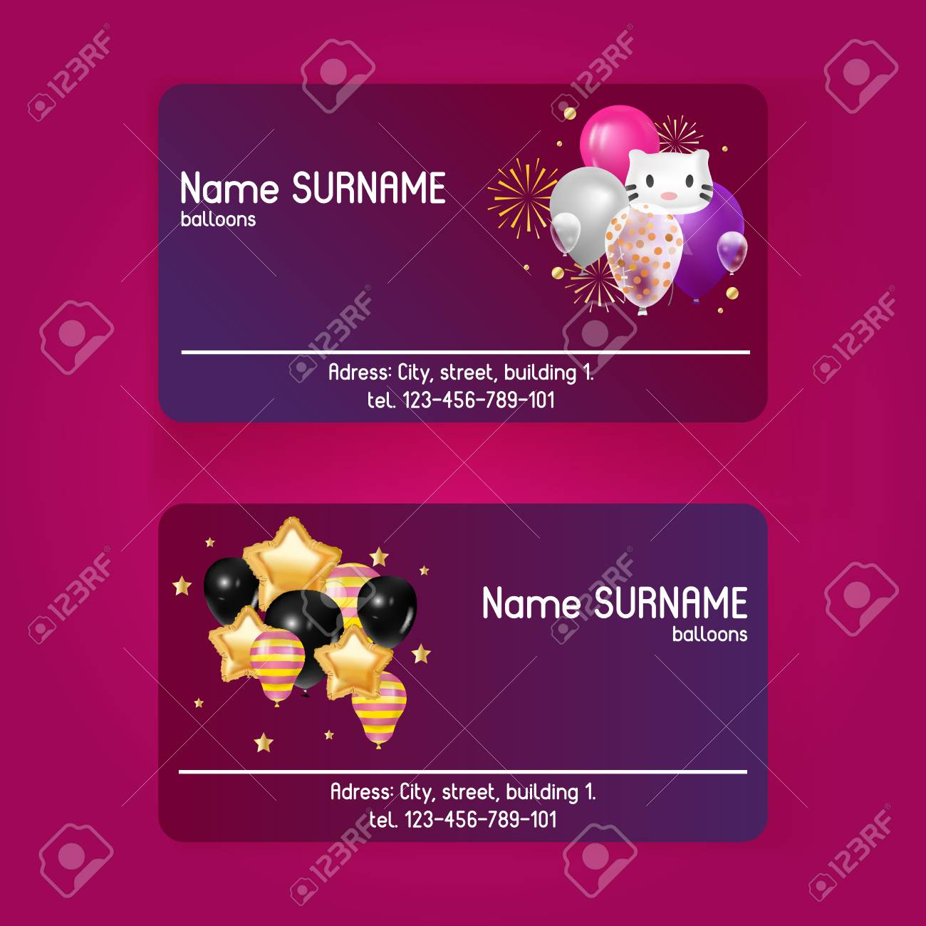 Ballooon Vector Business Card Celebrating Birthday Party Anniversary