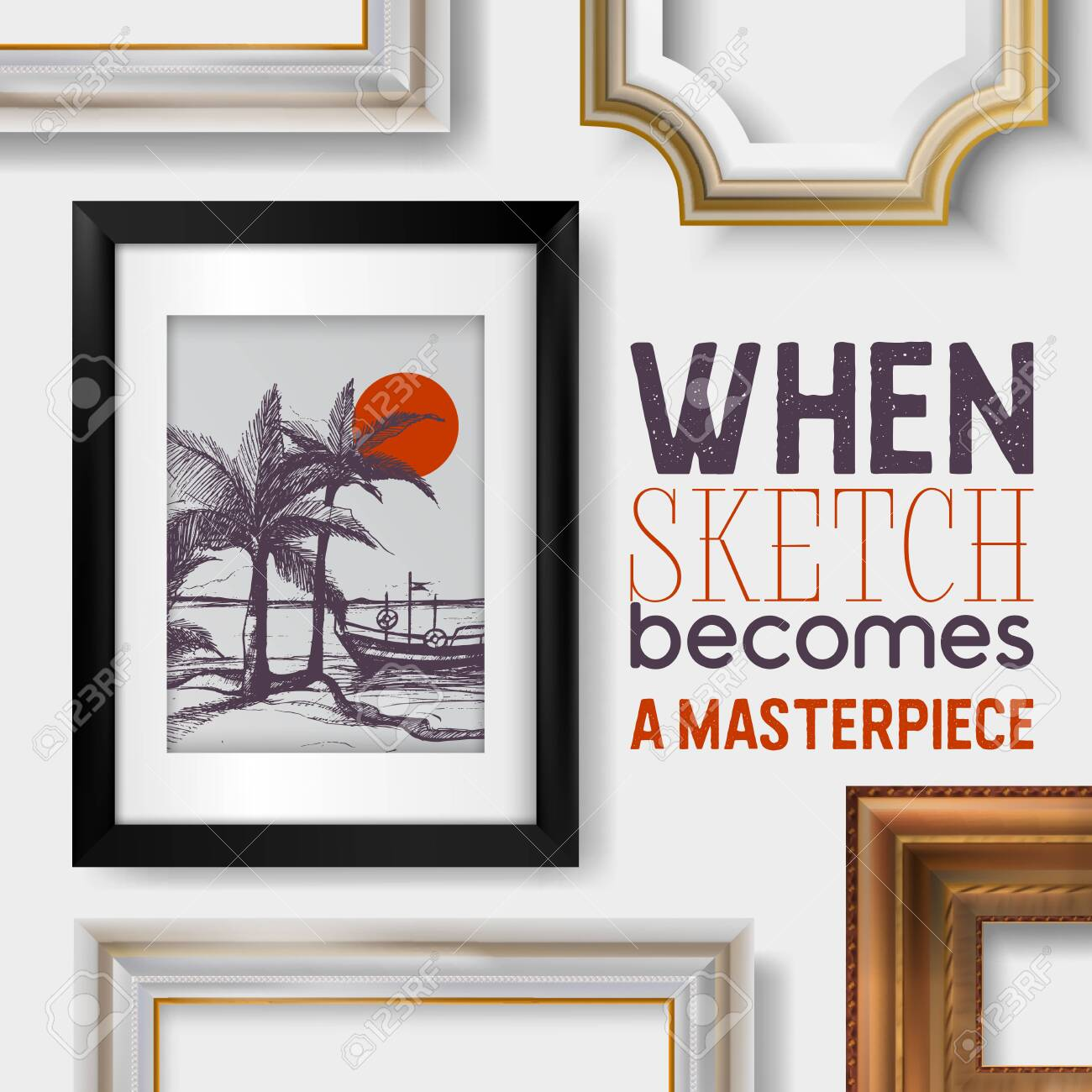 Picture Framing Banner Poster Vector Illustration Buying Fillets Royalty Free Cliparts Vectors And Stock Illustration Image 123795385