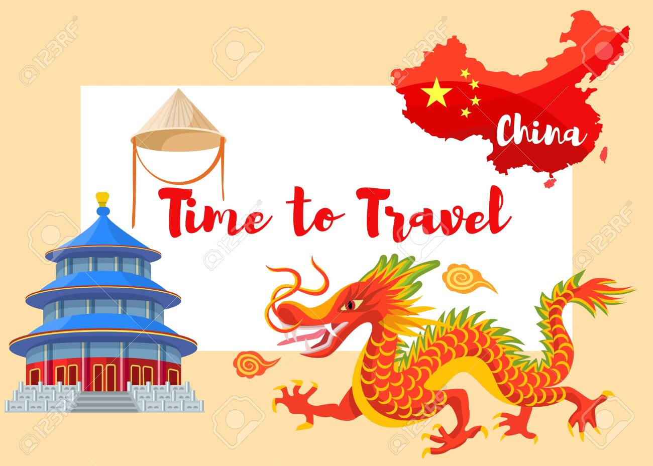 Chinese culture in Asia vector illustration. Infographic set of asian symbols red dragon, chinese cone hat, pagoda and flag on red map of China contour with time to travel lettering. - 125253837