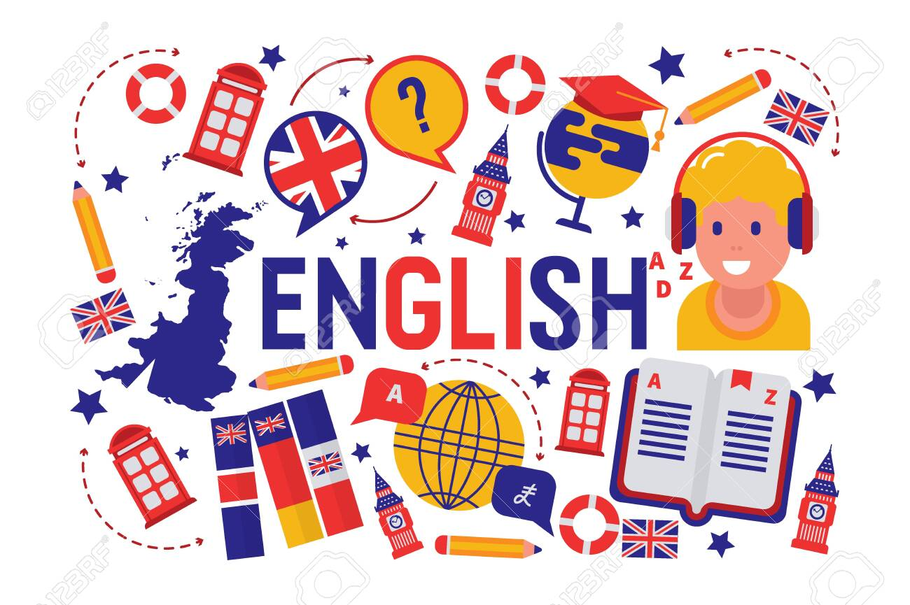 British English Language Learning Class Vector Illustration ...