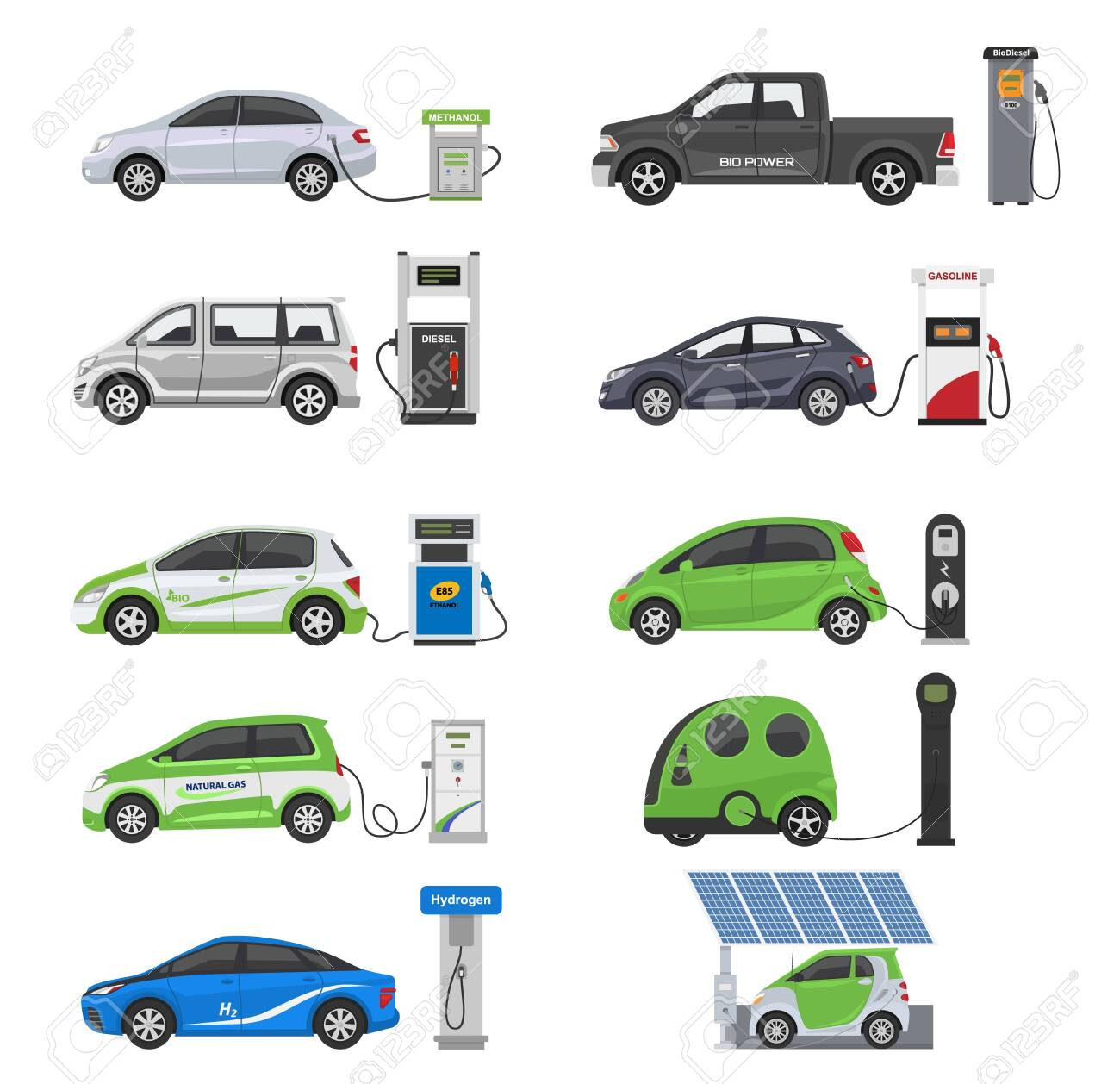 Fuel alternative vehicle vector team-car or gas-truck and solar-van or gasoline electricity station illustration set of bio-ethanol and hydrogen electric-car, isolated on white background - 132388969