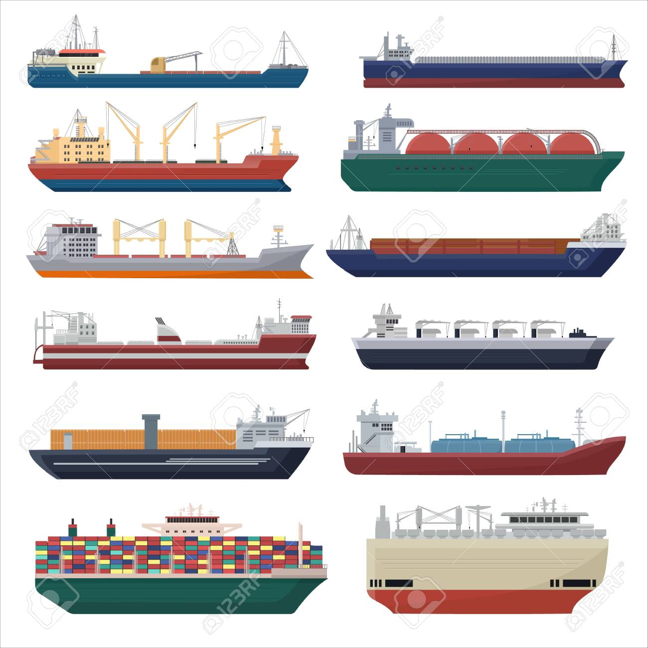 Cargo ship vector shipping transportation export container illustration set of industrial business freight transport shipment isolated on white background - 132396769