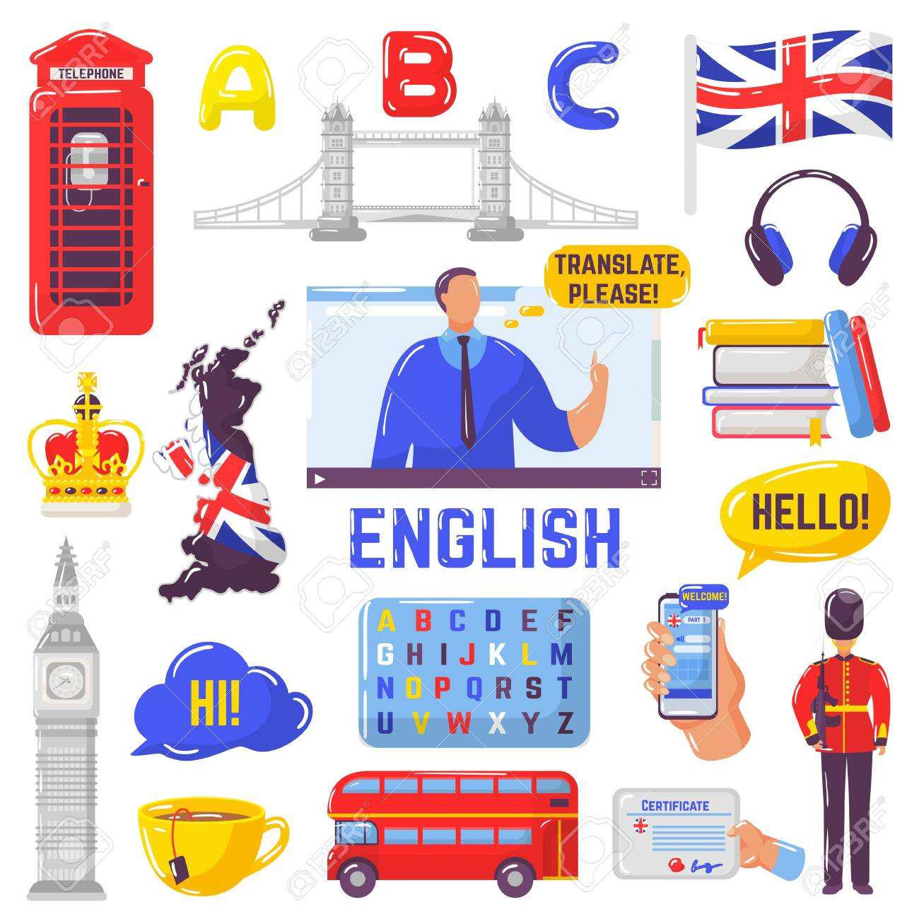 Learning English And Tourism To Great Britain Vector Illustration.. Royalty  Free Cliparts, Vectors, And Stock Illustration. Image 138145146.