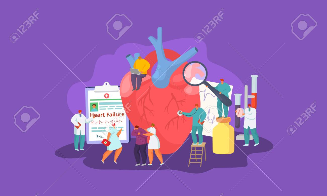 Heart failure, people patient and doctors team, medical help and care vector illustration concept. Man with heart disease. Cardiologists listen, take tests, make diagnose, prescribe pills. - 138286987