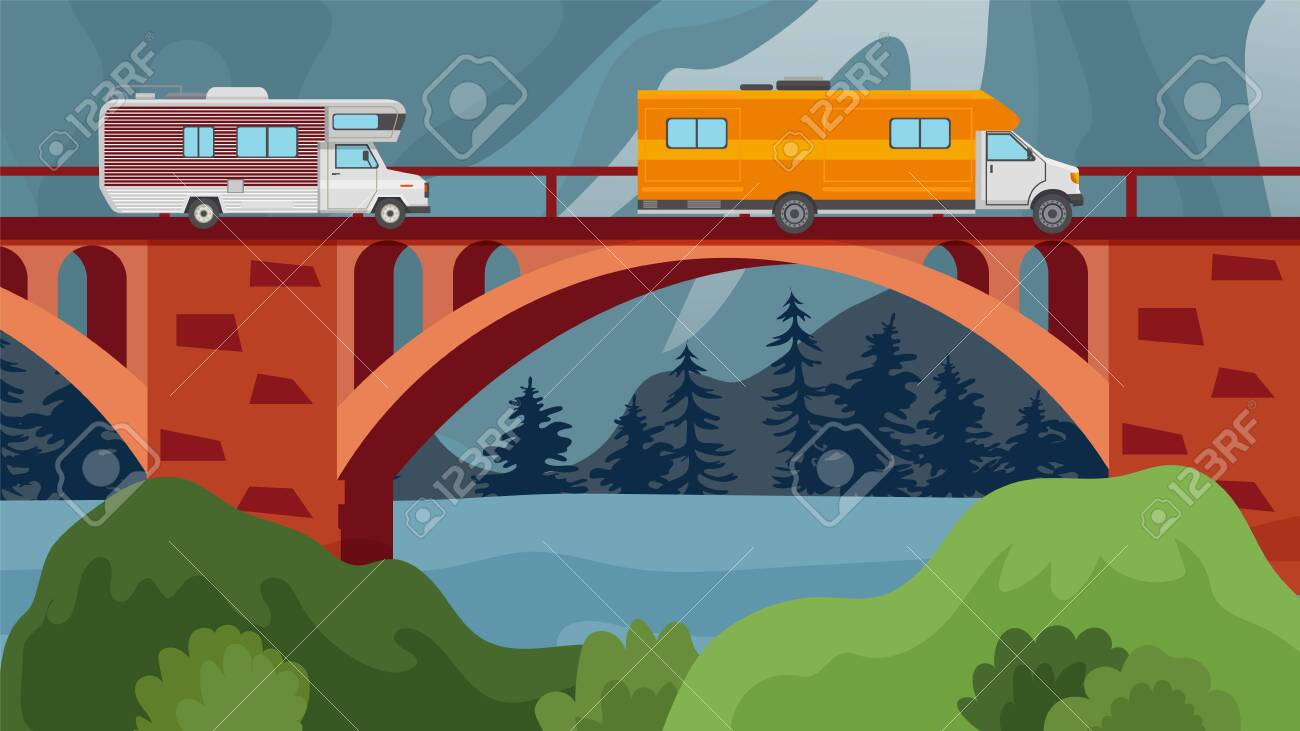 Bridge over river or lake with autos of travelers vector illustration. Car trip, motorhomes crossing bridge vector illustration. Natural landscape with hills, trees, water. - 142523464