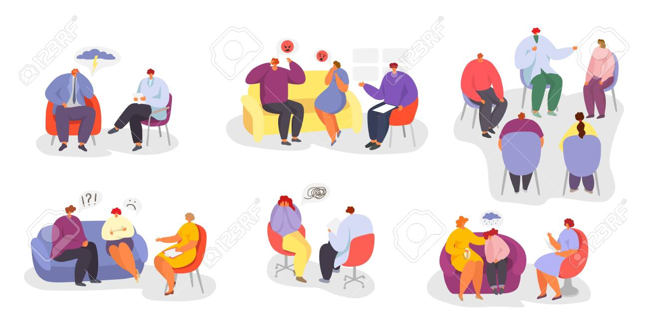Psychotherapy, people at psychologist doctor consultation vector illustration isolated set collection. Individual, group psychotherapeutic sessions. Men, women, child, couples and families patients. - 142524545