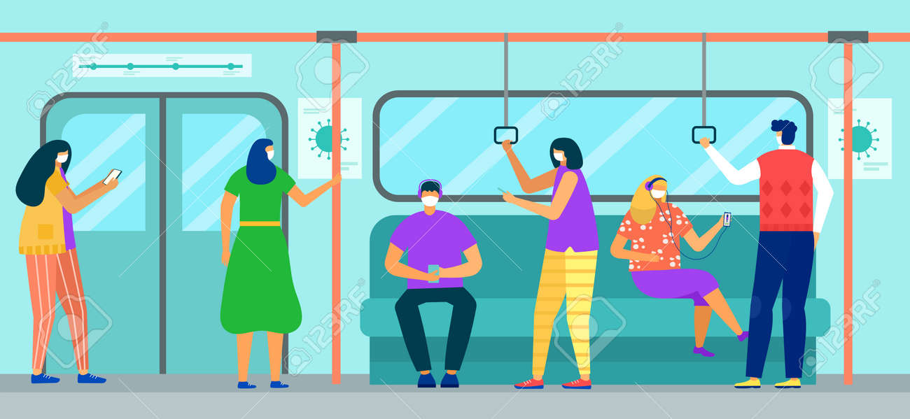 Subway train with man woman character , virus, vector illustration. People passenger in face mask transportation. - 167289442