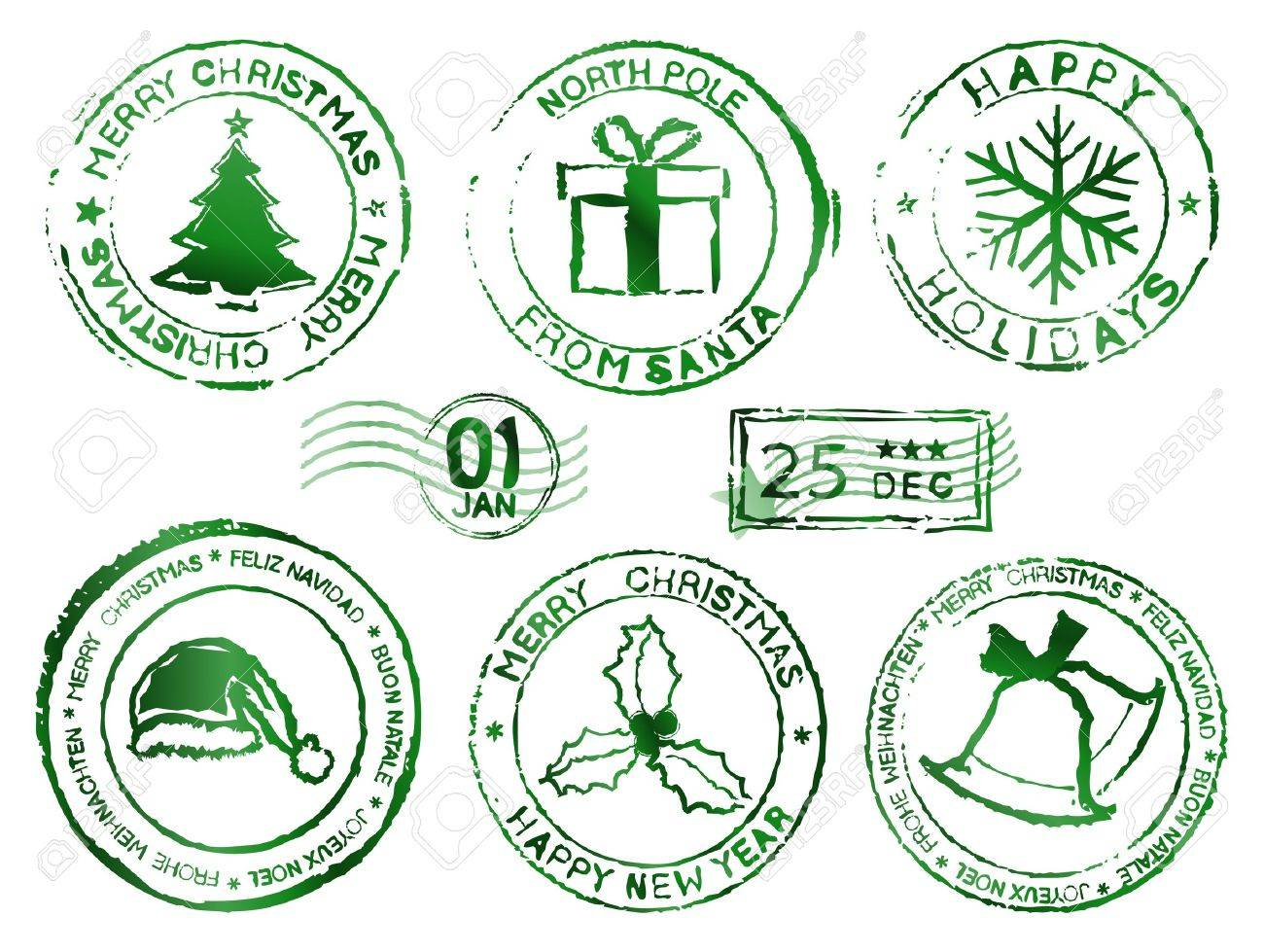 Christmas and new year rubber stamps Stock Vector - 16255629