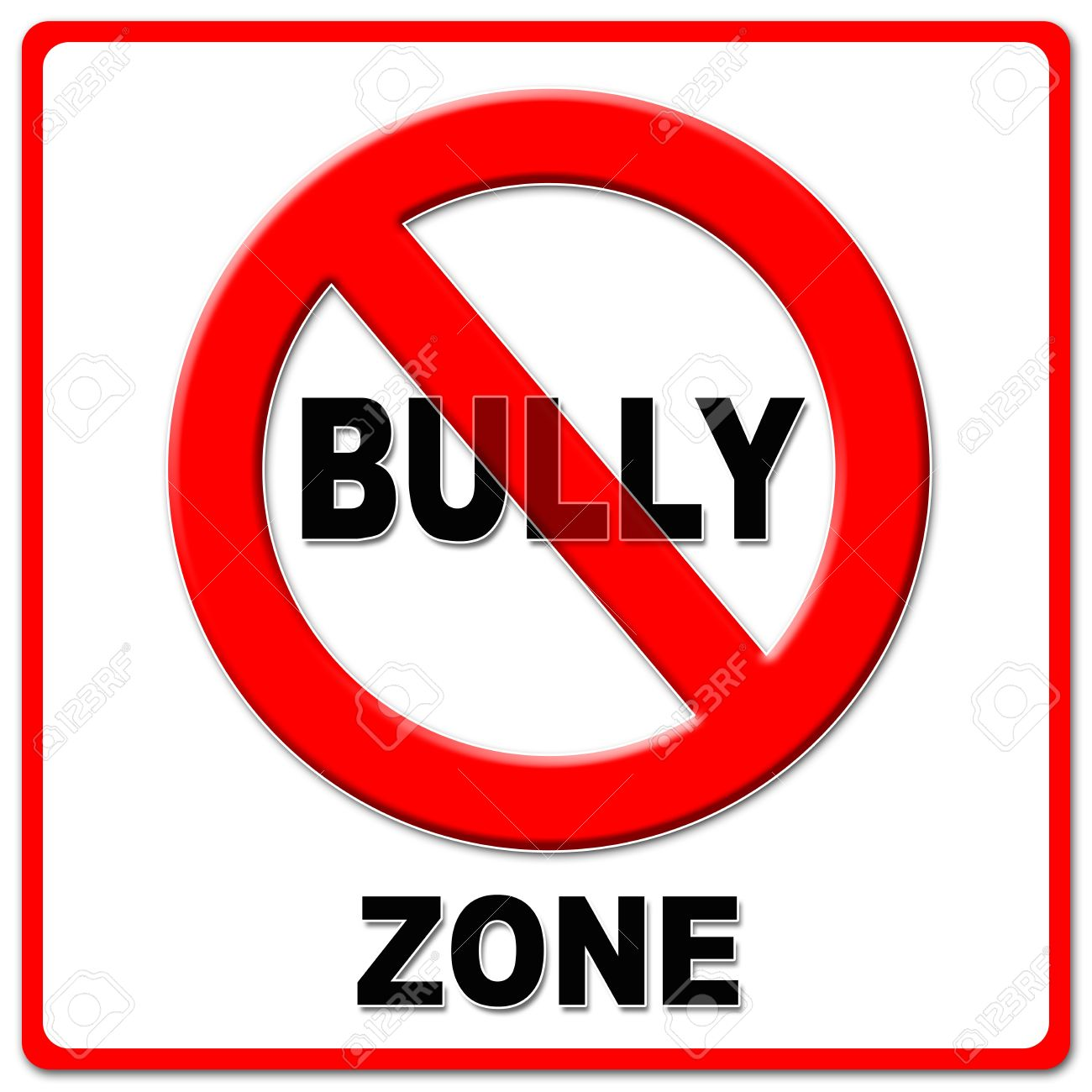 No Bully Zone Sign On White Background. Stock Photo, Picture And ...