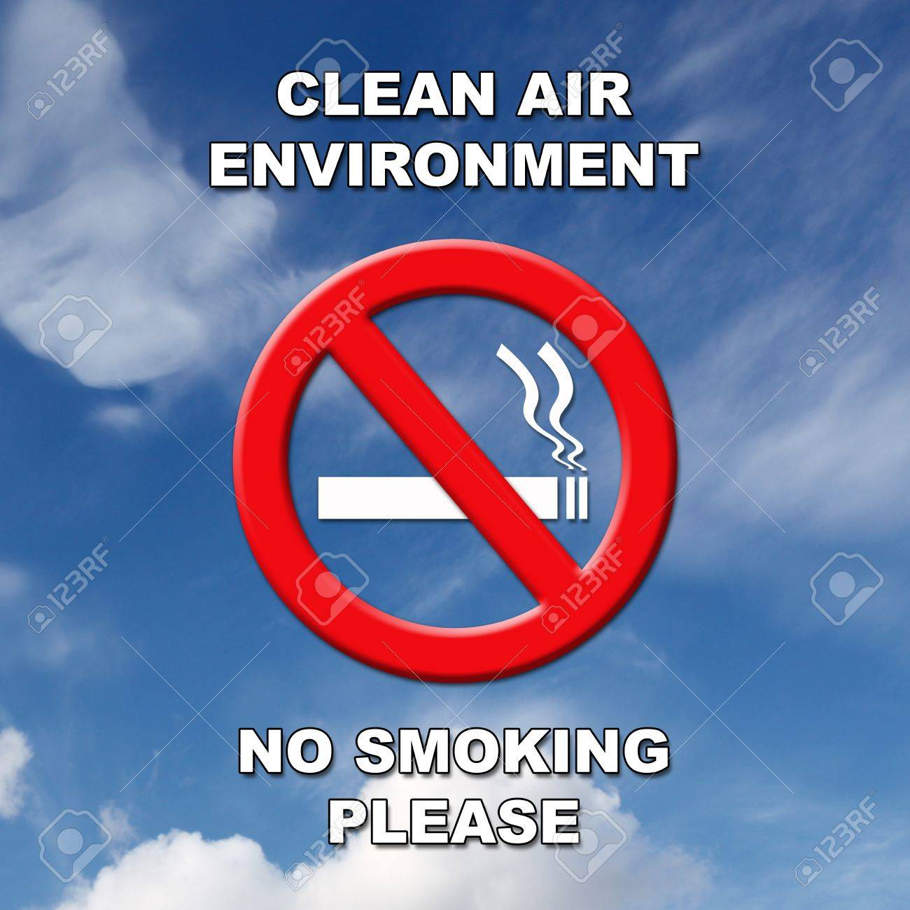 Clean air, no smoking sign in black and white text on a blue sky and cloud background. Stock Photo - 12535065