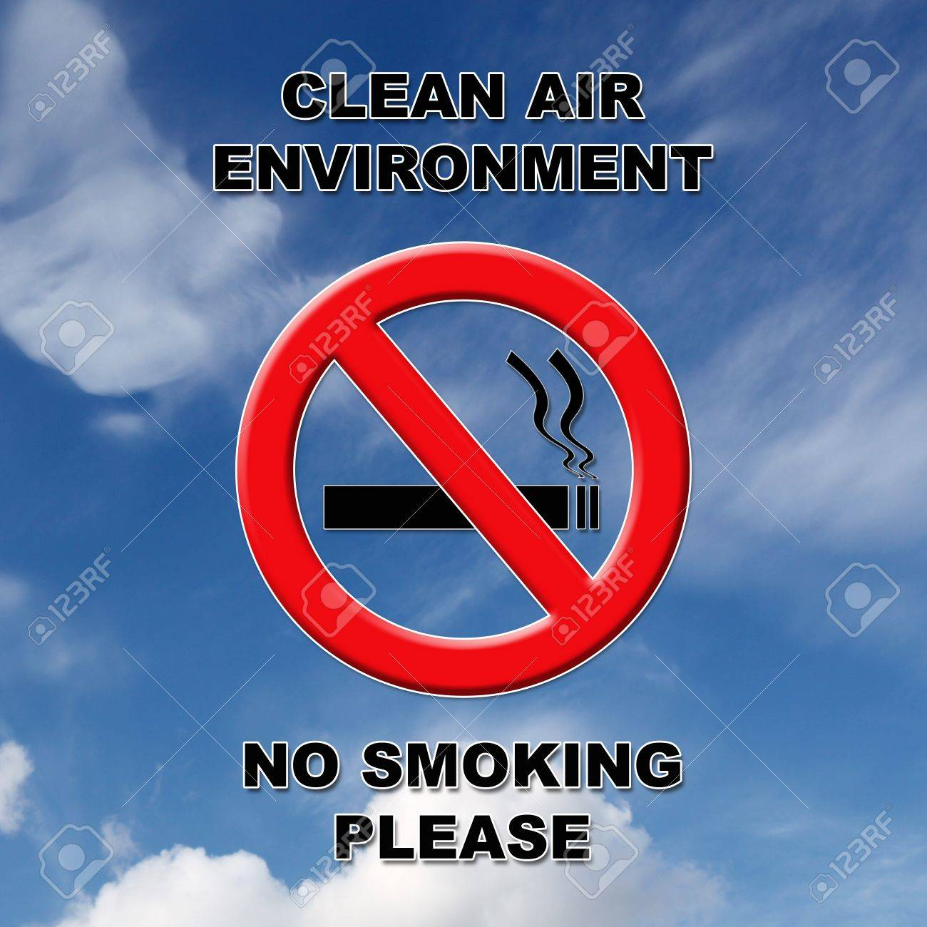 Clean air, no smoking sign in black and red text on a blue sky and cloud background. Stock Photo - 12535066