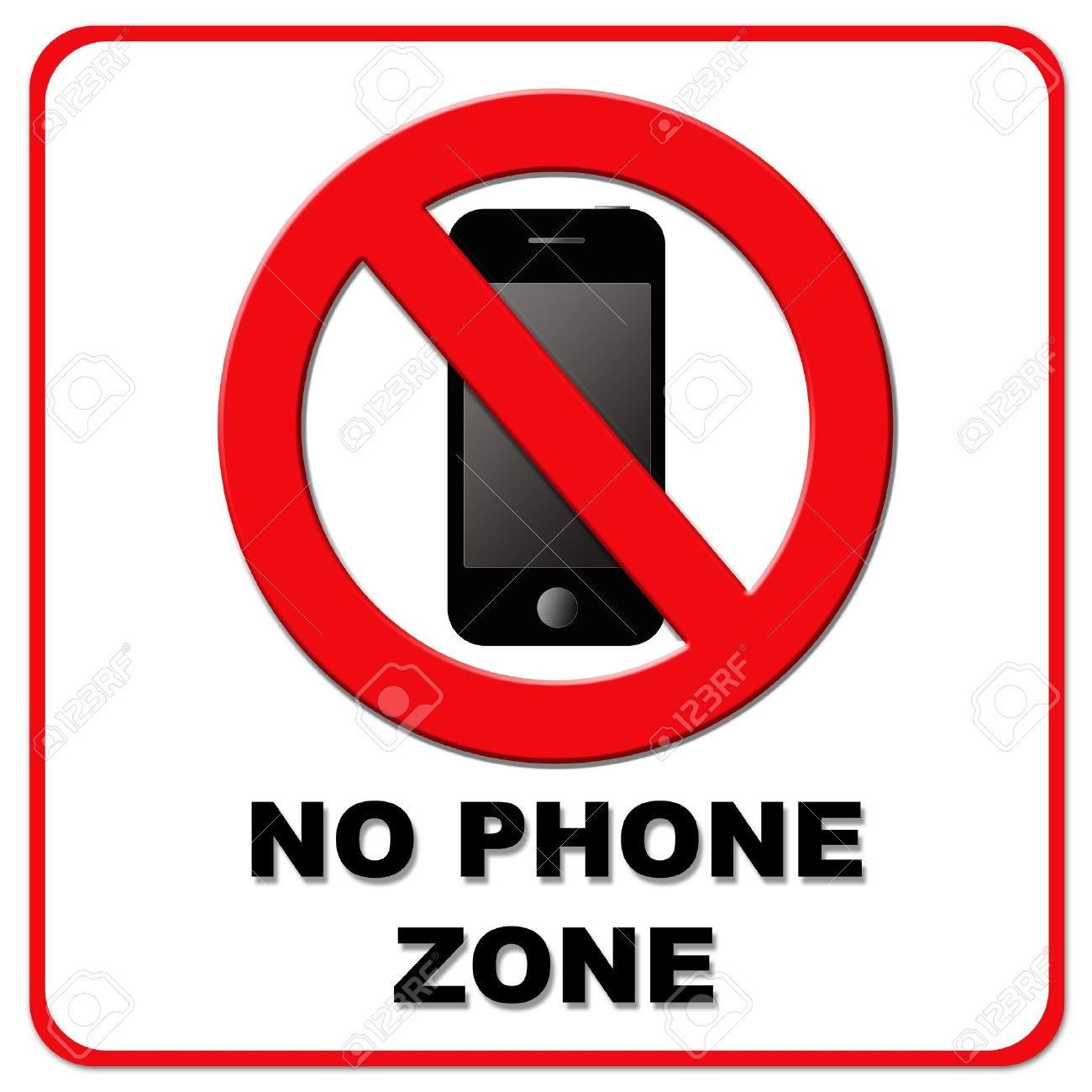 black and red no phone zone sign on white background stock photo 12535036
