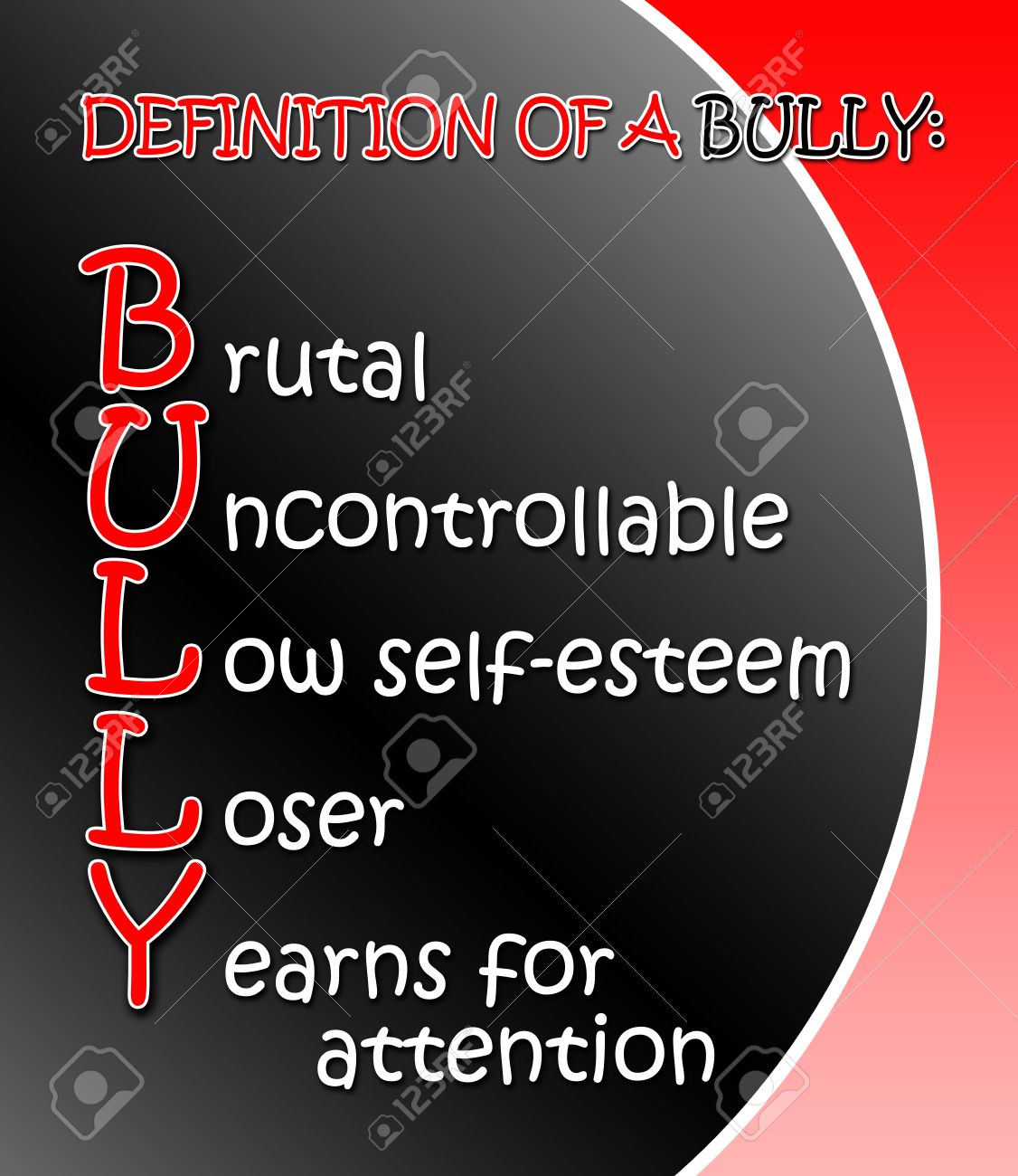 black and red definition of a bully poster stock photo, picture and