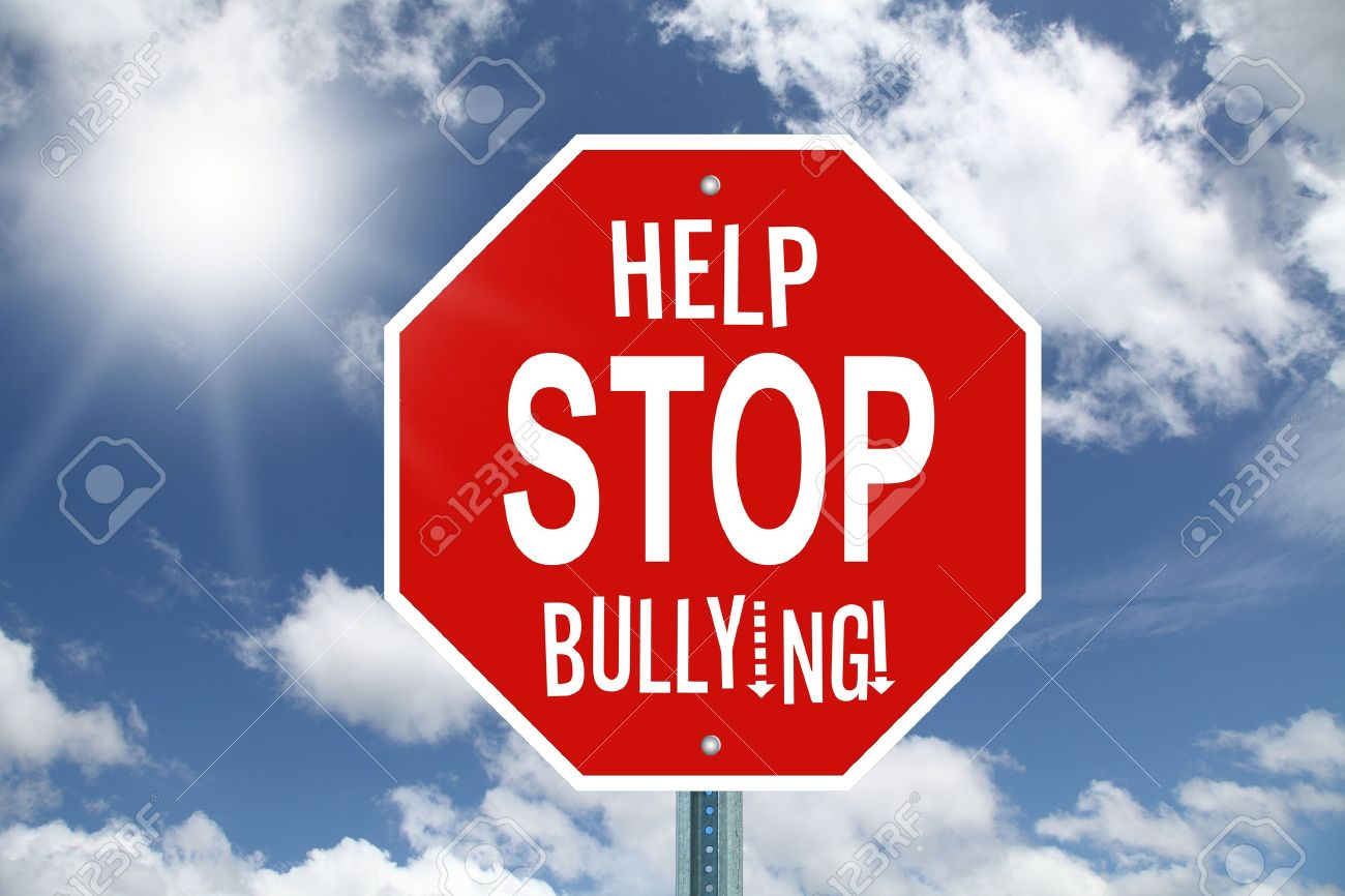 Red Help Stop Bullying Stop Sign On Sky Background Stock Photo ...
