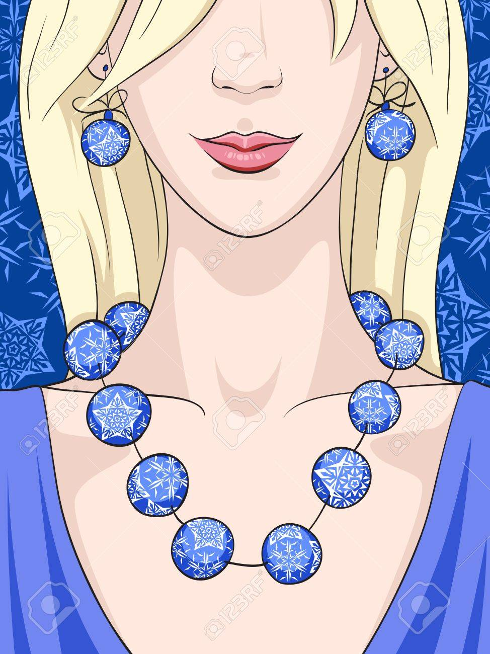 A young blonde woman with Christmas earrings and necklace Stock Vector - 11292330