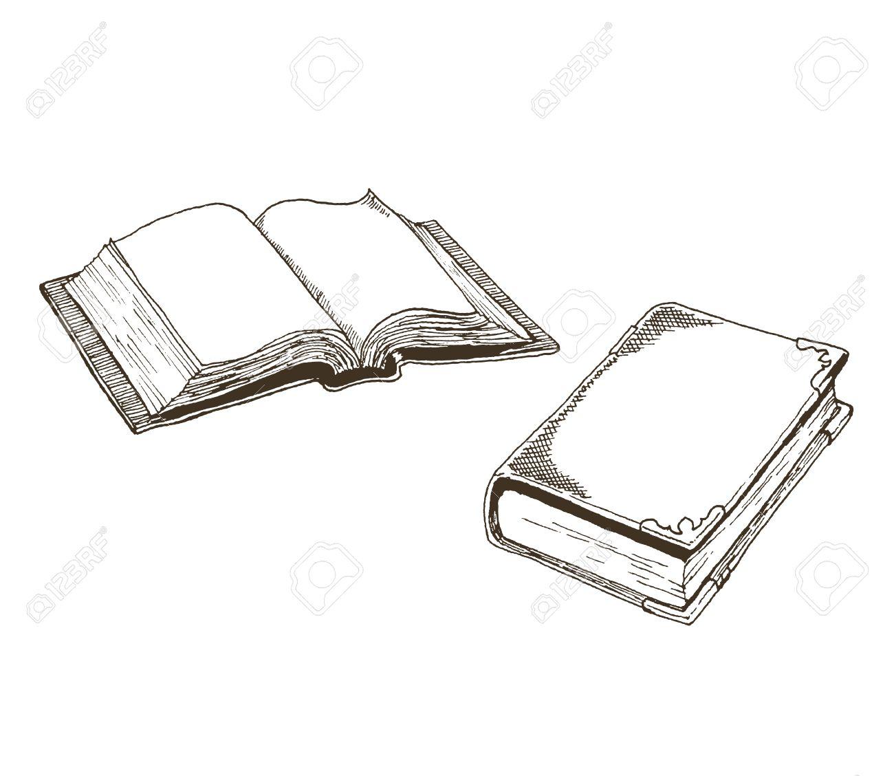 Antiques De Livres Dessins D Un Livre Ouvert Et Un Livre Vintage Ferme Fait Dans Un Style D Encre Dessinee Avec Des Hachures Et Des Hachures