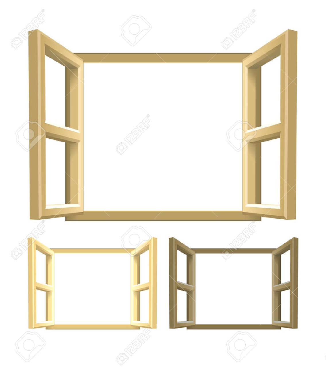 Wood frames set free vector - Open Wood Windows A Set Of Brown Wooden Windows Lighter And Darker Versions Included