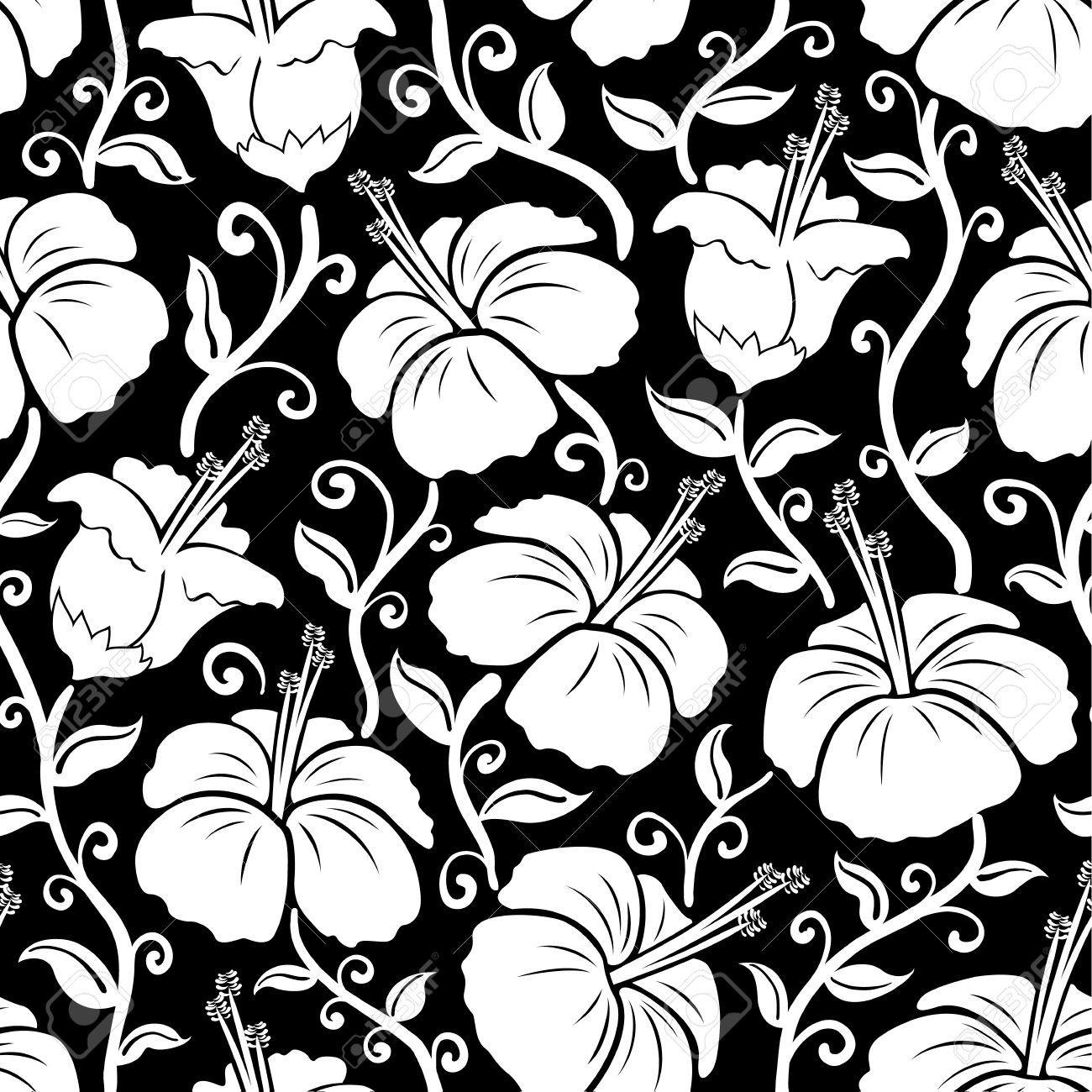 Hawaiian Print Seamless Hibiscus Flower Background Pattern