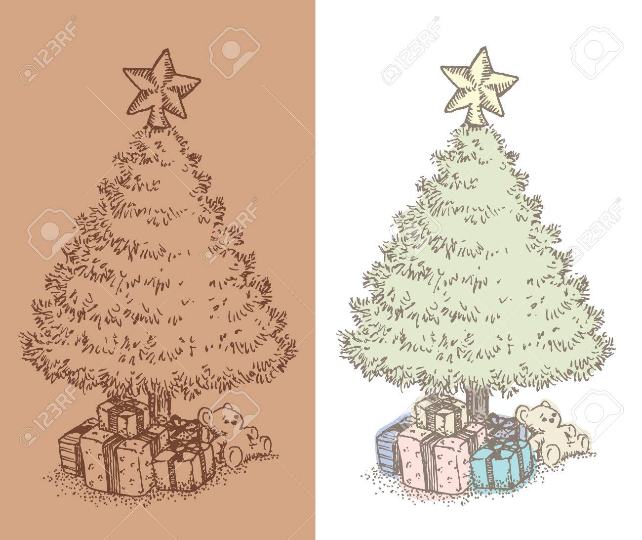 Hand Drawn Vintage Christmas Tree Drawing Vintage Style Ink Royalty Free Cliparts Vectors And Stock Illustration Image 45649162