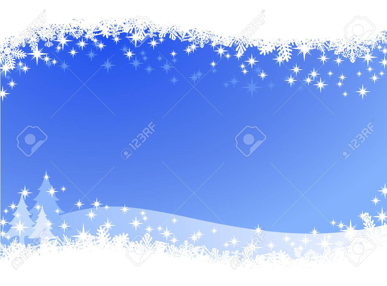 Christmas winter sky lights background. Sparkling Christmas card banner with pine trees and many different snowflakes on the border. - 45649159