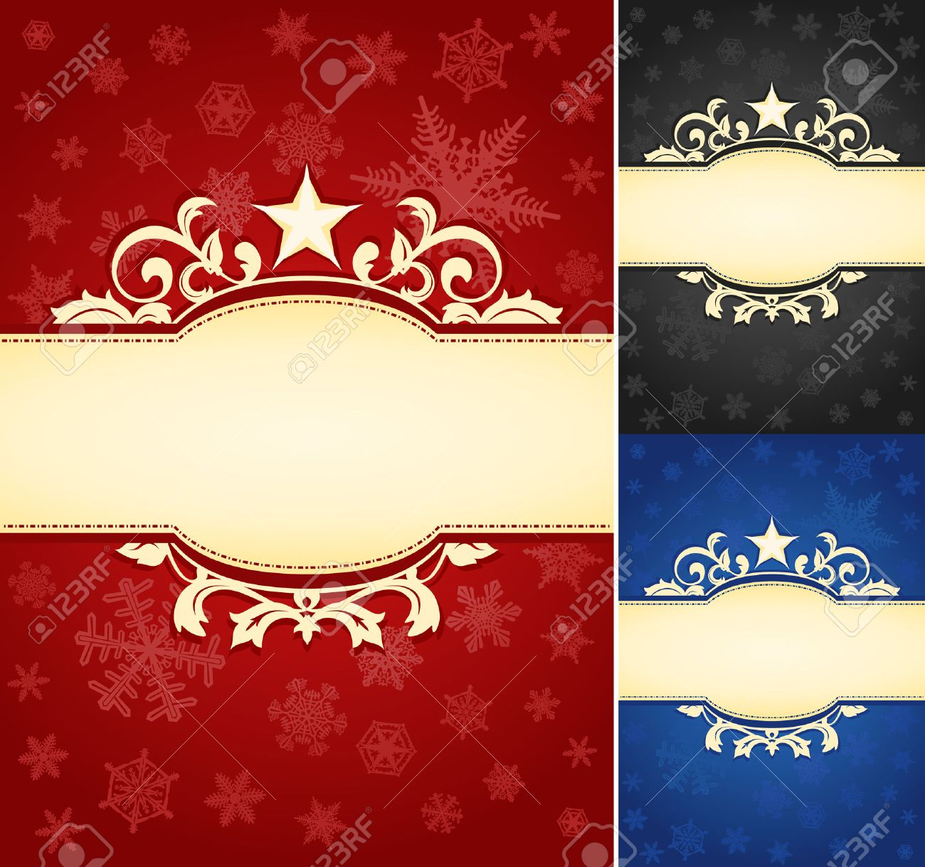 Set Of Ornate Christmas Banner Background A Set Of Elegant ...