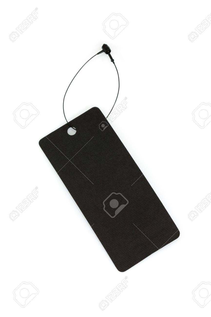 Black price tag with plastic thread isolated on a white background