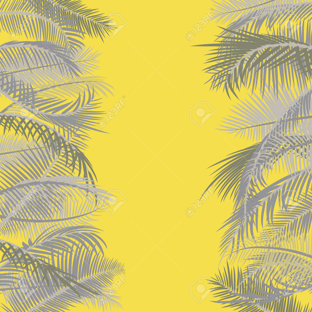 Frame from branches of palm tree in yellow and gray. Color trends Ultimate gray and Illuminating Yellow. Palm leaves on a yellow sunny background. Vector illustration. Border with place for text - 160456118