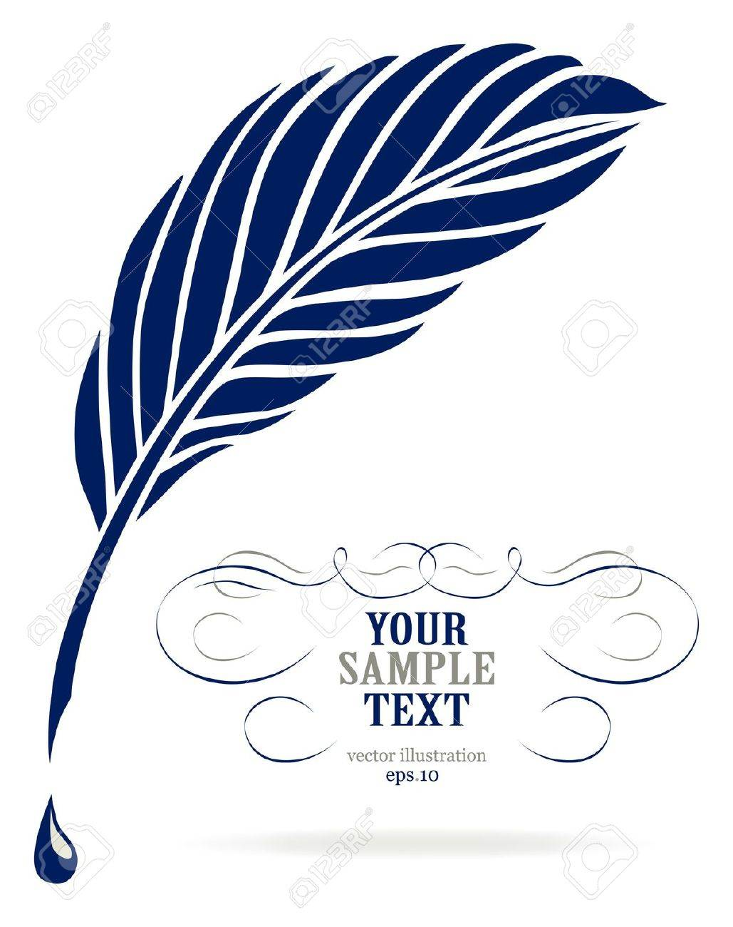 Ink feather pen Stock Vector - 8986461
