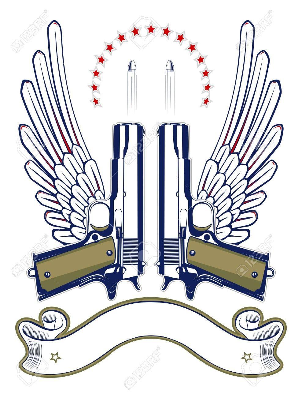 gun and bullet emblem with wings and ribbon - 10039219