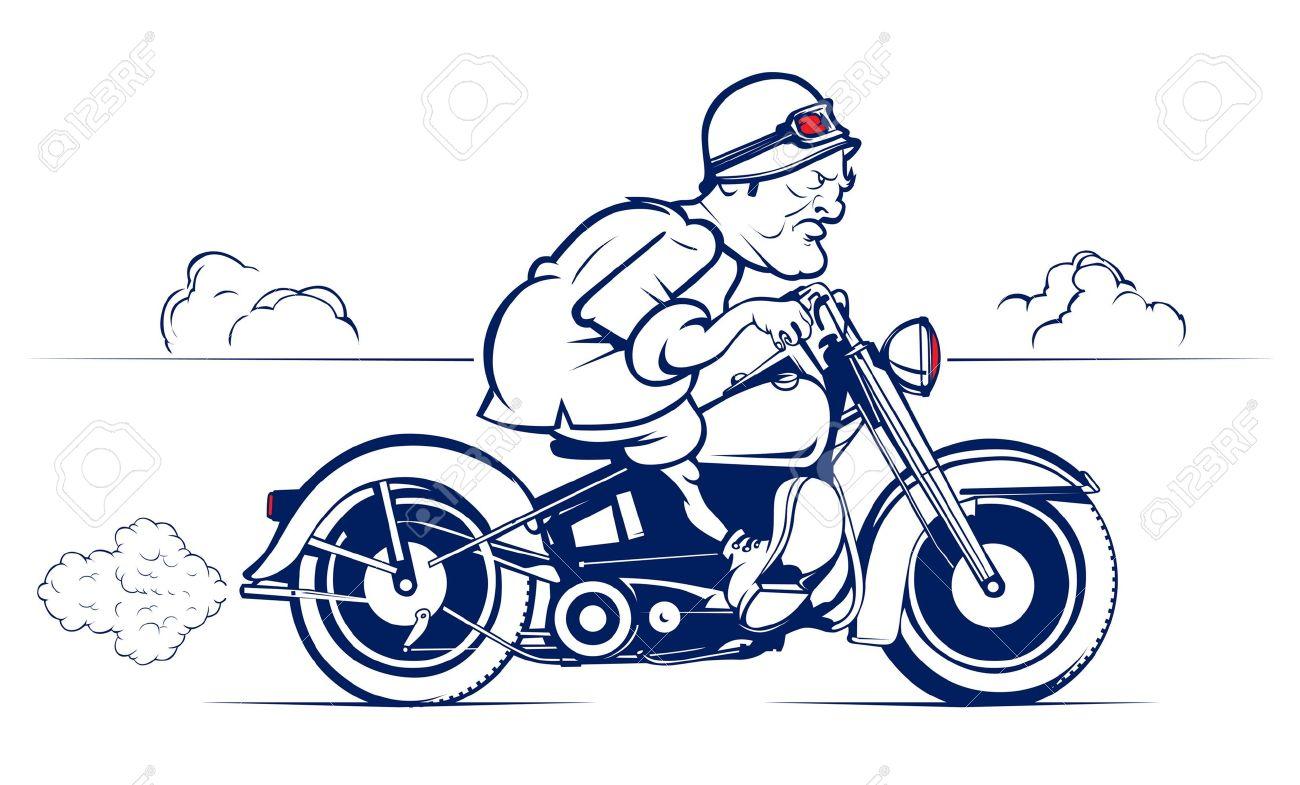 retro style cartoon biker ride - 10260099