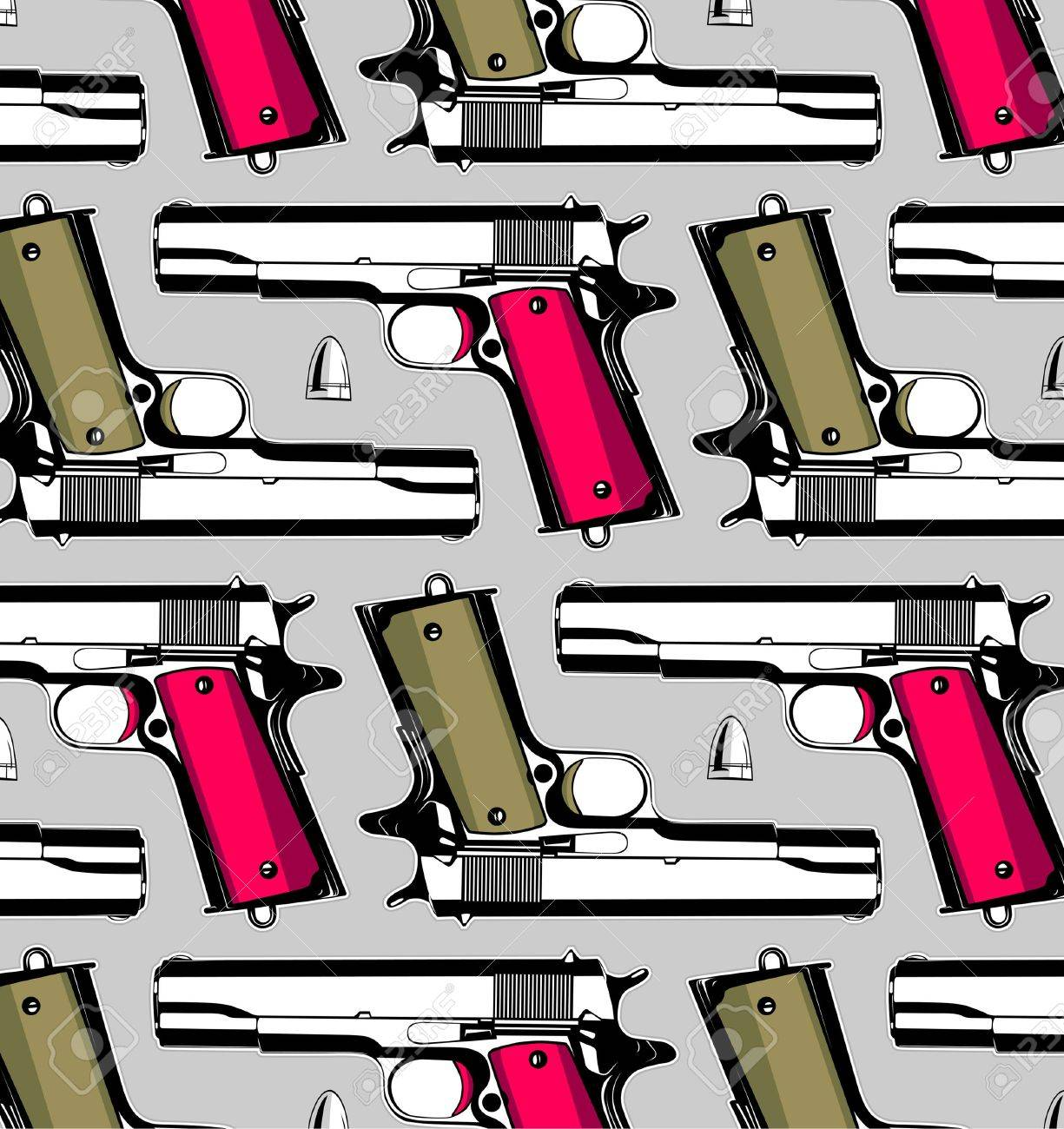 gun and bullet pattern background Stock Vector - 10260107