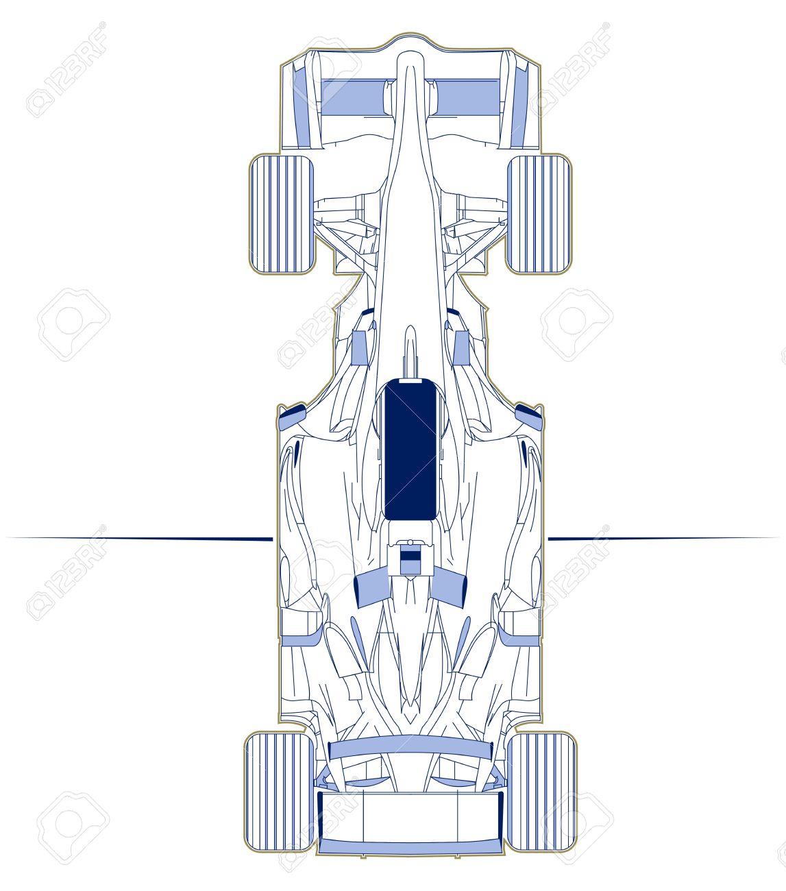 formula racing car scheme top view - 10826268