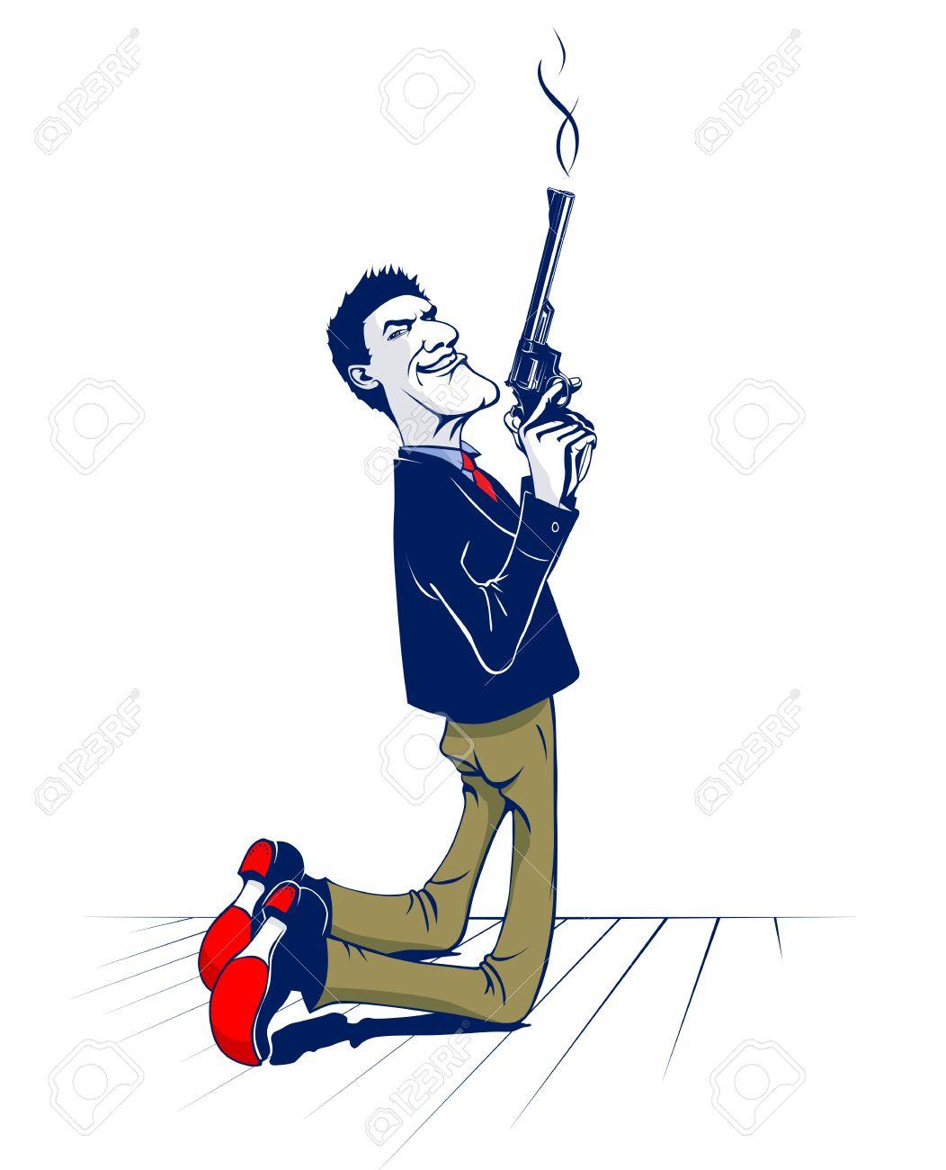 kneel gun gangster with smoking gun Stock Vector - 10991422