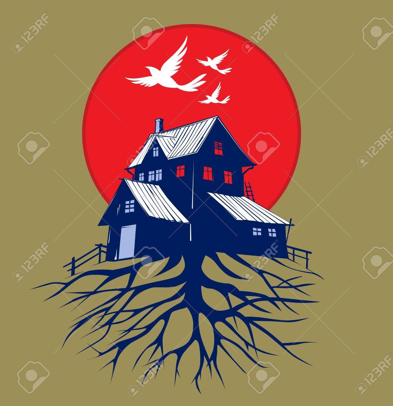 cartoon scare dark house roots - 10991416