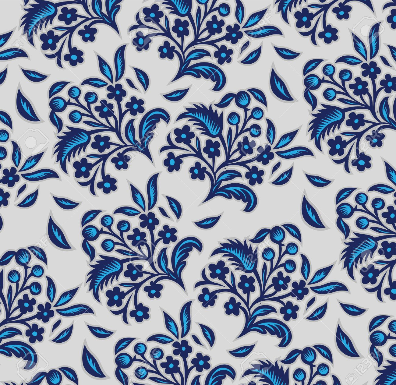 blue floral background pattern in vector - 11079236