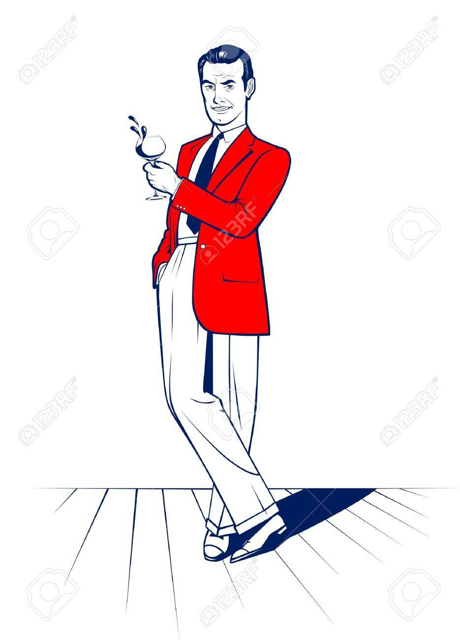 cartoon style cocktail drink man - 11308518
