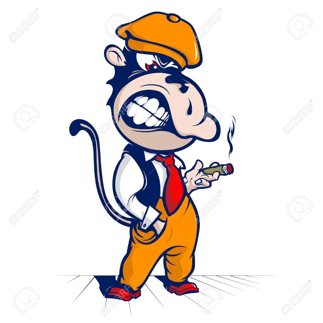 cartoon monkey smoke and smile - 12788153