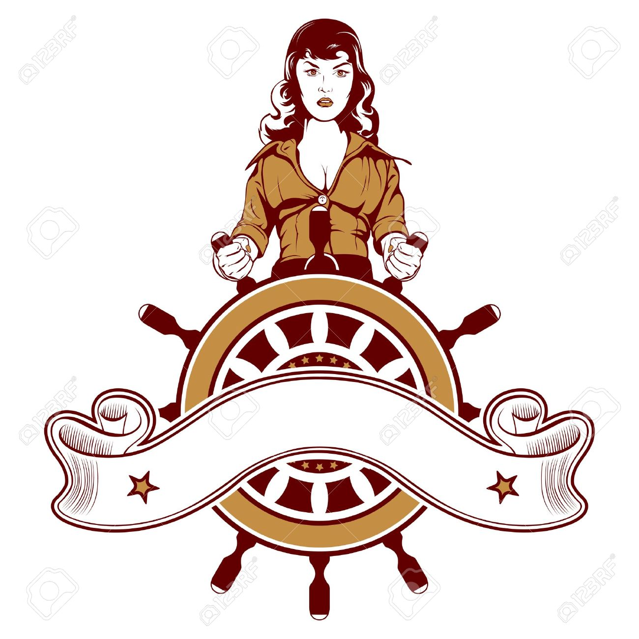 cartoon woman sailor vector emblem - 13305694
