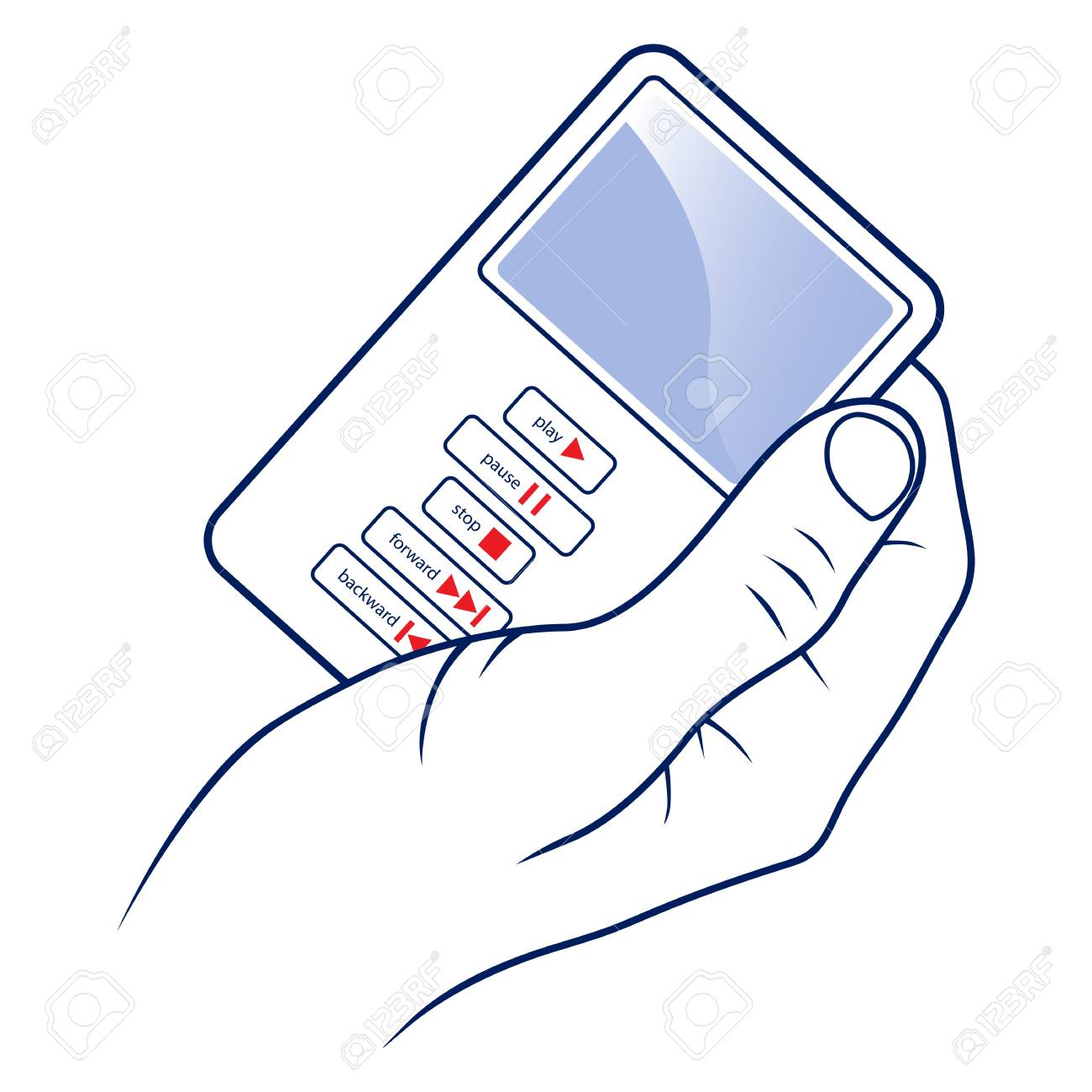 hand hold the mp3 player Stock Vector - 13439372