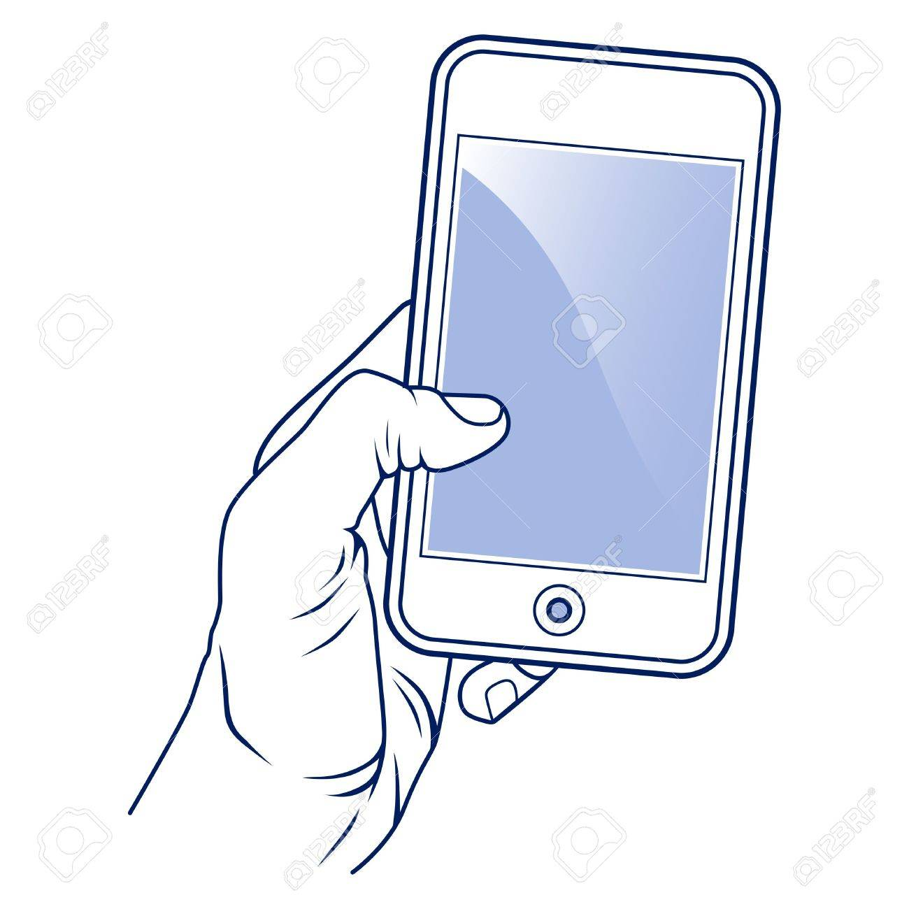 hand hold the mobile phone Stock Vector - 13439370