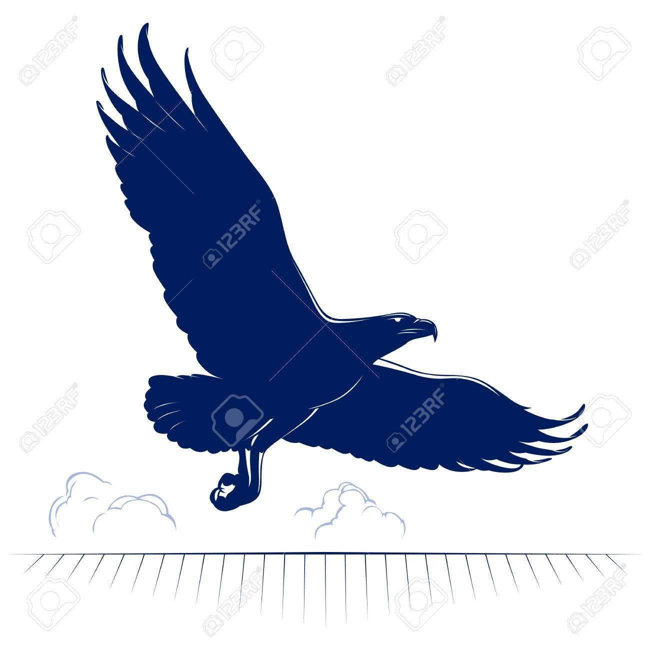 cartoon eagle flying in vector - 13529663