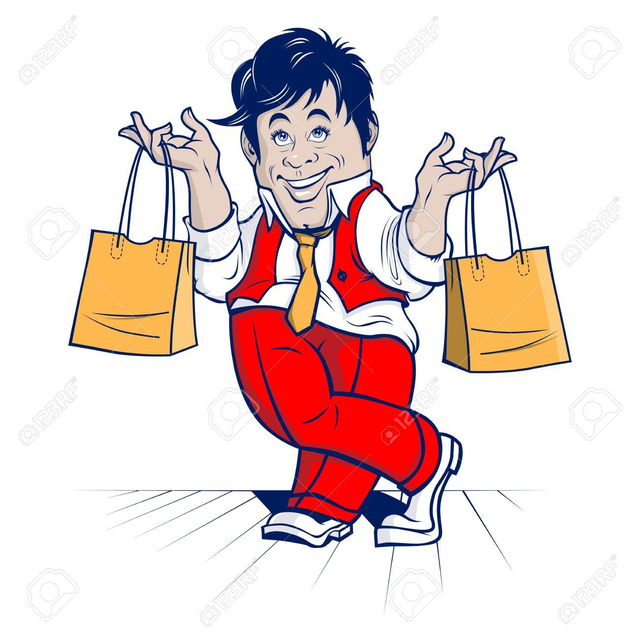 shopping man  big sale  cartoon character Stock Vector - 13838634