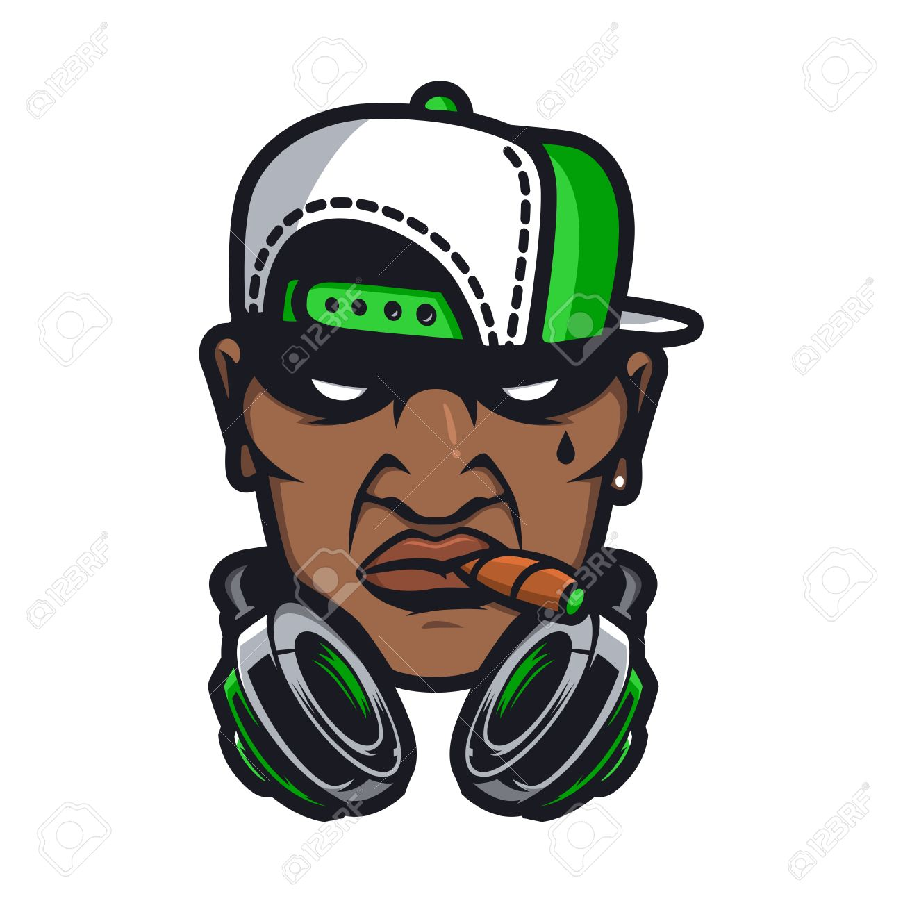 Urban HipHop smoking character in cartoon vector style - 60768984