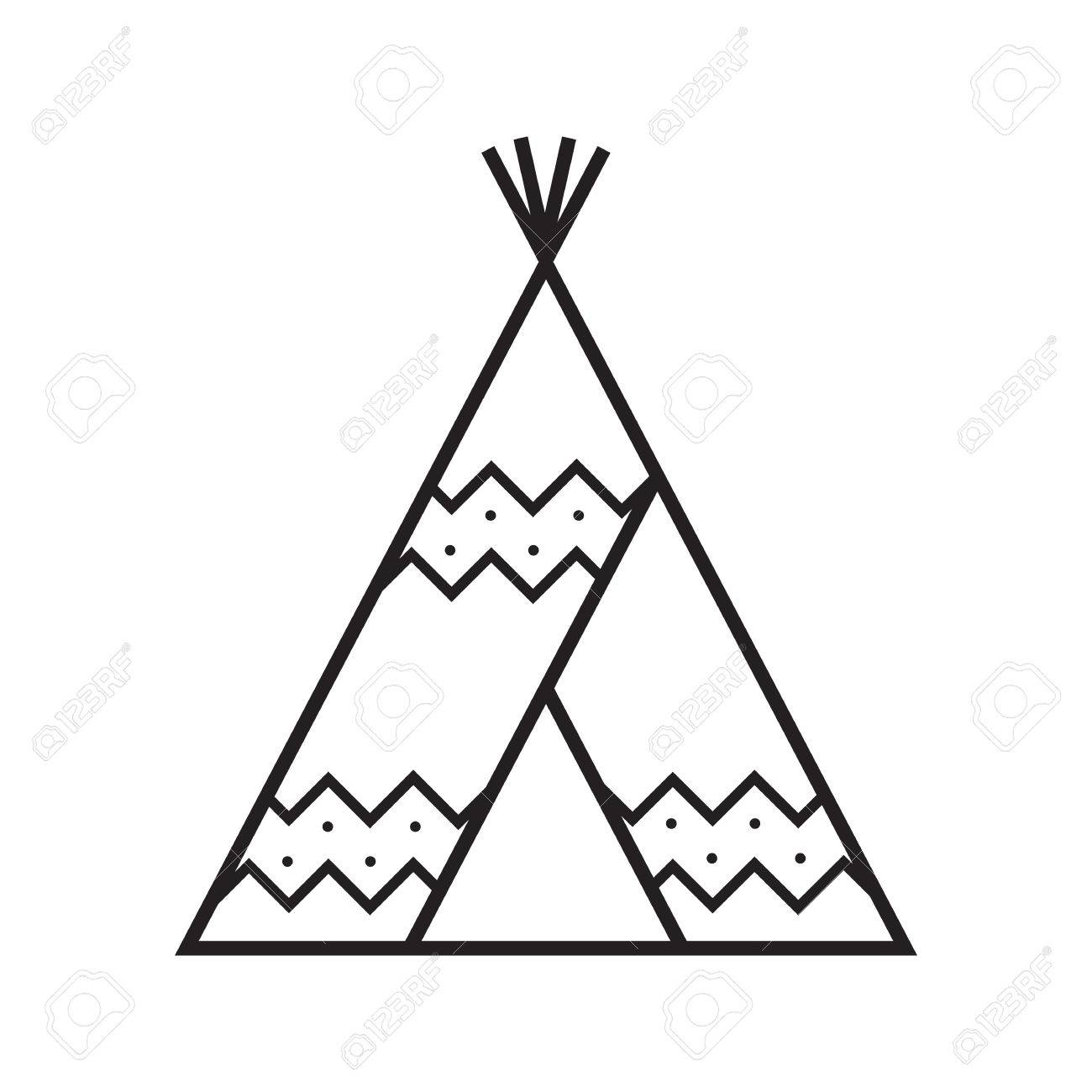 Camping Tent Vector Linear Icon. Teepee Symbol Royalty Free Cliparts ...