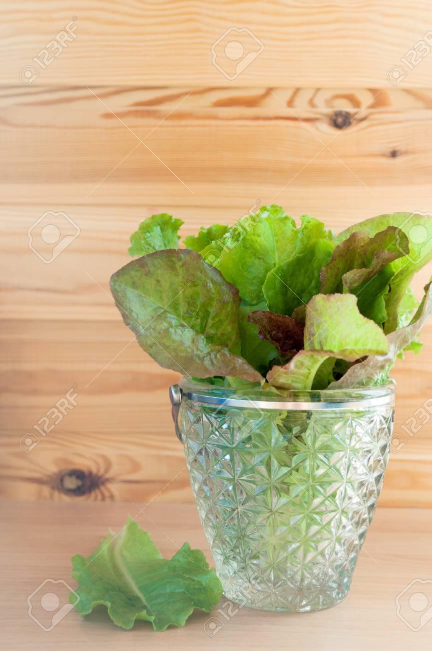 fresh leaves of lettuce in glass bowl Stock Photo - 15315735